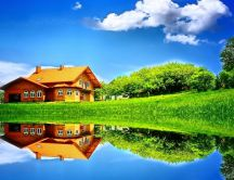Perfect house view in the mirror of the lake - Wonderful