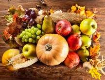 The golden fruits of Autumn season -Table full with vitamins