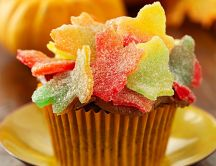 Sweet muffin with colourful jelly leaves-Autumn Candy moment