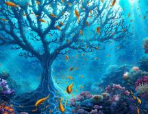 Wonderful underwater life tree - colourful Coral reef