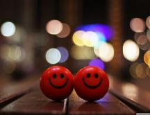 Two happy red balls in night - Happy time