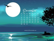 Big moon over the blue water - Calendar December 2019