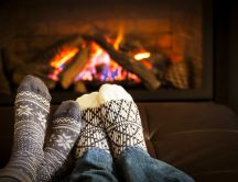 Relaxing time near the warm fire-Love time Christmas holiday
