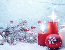 Warm light from Christmas candles - Magic moments