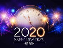 Twelve o'clock at midnight - Happy New Year 2020 fireworks