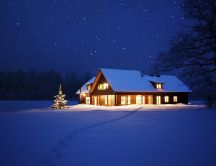 Warm house in the mountains - Cold winter night