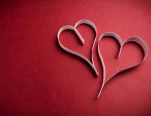 Hearts paper shape and a red background - Love wallpaper