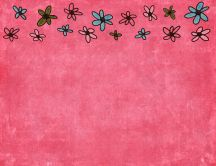 Pink background and color flowers - HD wallpaper