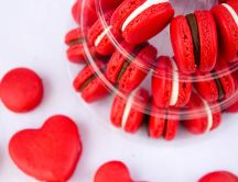 Red macarons - Delicious sweet time on Valentines Day