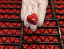 Millions of red chocolate hearts - Delicious Valentines Day