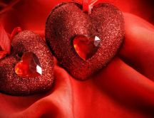 Two shiny red hearts - Beautiful neckless Valentines Day