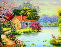 Spring season in a beautiful painting view - HD wallpaper