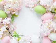 White paper for a Easter message 2020 - Green and pink eggs