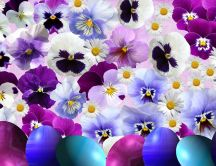 Wonderful purple and blue flowers and Easter eggs - Spring