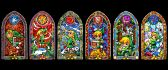 Colourful castle windows from Nintendo games - HD wallpaper