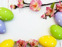 Easter Holiday - Flowers and colourful eggs - HD paint frame