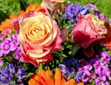 Wonderful bouquet of spring flowers - Orange roses