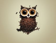 Funny coffee - two cups make eyes and coffee beans body