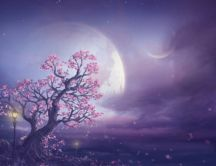 Fairy pink tree - Big moon on the purple sky - Magic night