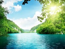 Blue river water and wonderful green nature - HD wallpaper