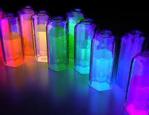 Colorfull liquids in bottles - Abstract light in the room