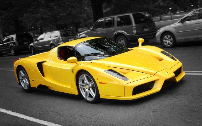 Yellow Ferrari Enzo