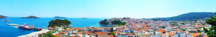 Skiathos Island Panorama, Greece - Triple screen HD
