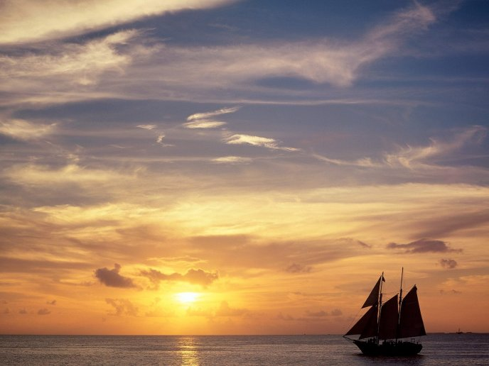 Sailboat on the ocean - Key West, Florida