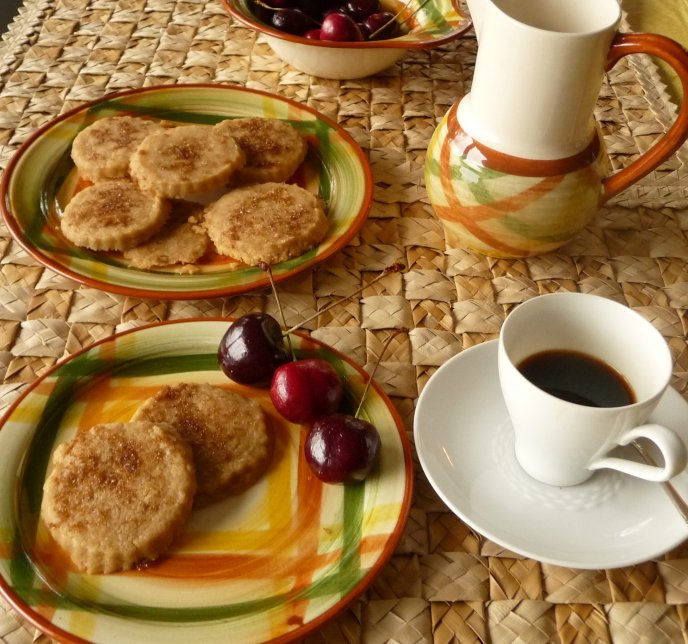 Perfect breakfast - coffee, cookies and cherries