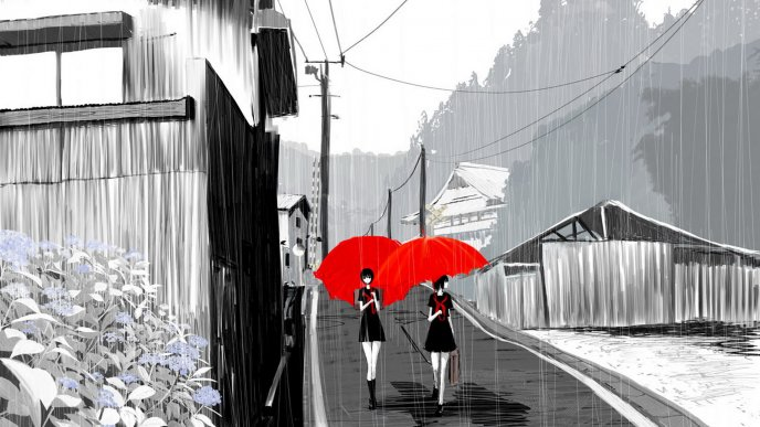 Rain over gray city - two girl with red umbrellas