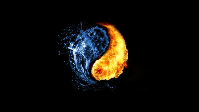 Yin and Yang - water and fire HD wallpaper