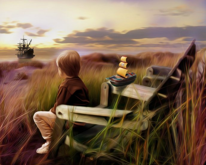 Boy looking after the boat - drawing HD wallpaper