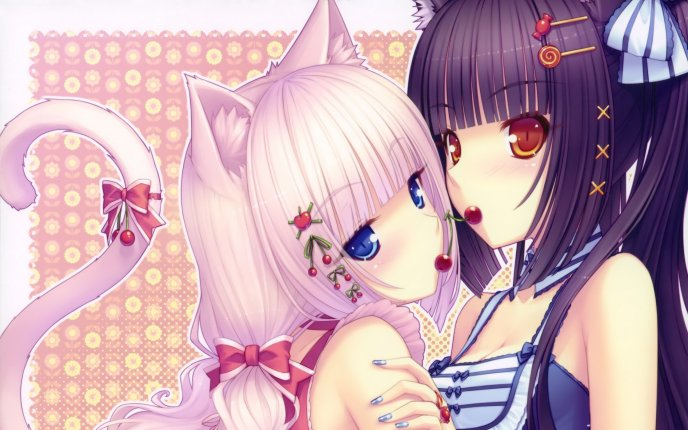 Two cats - anime girls with lips like cherries