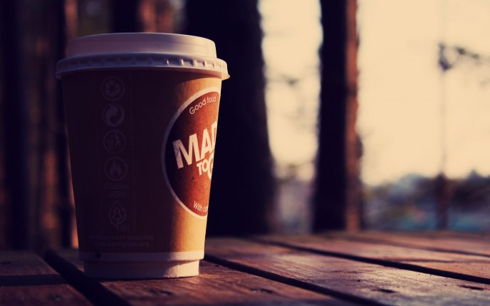 Download Wallpaper Coffee In A Paper Cup Close Up HD