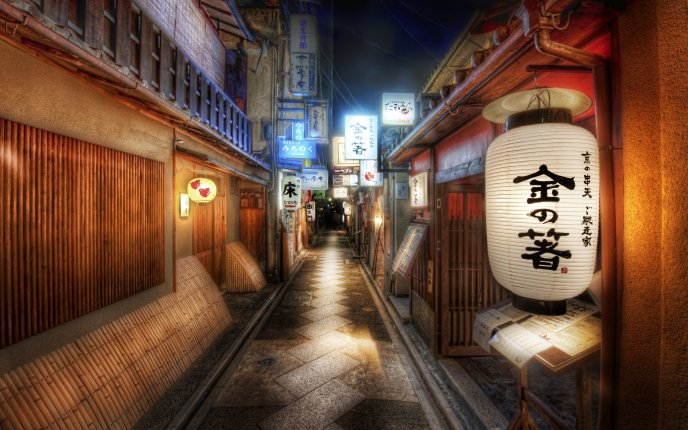 Street Kyoto from Japan at night HD wallpaper