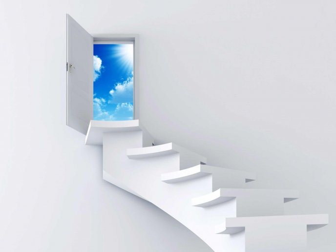 White stairs - path to freedom HD wallpaper