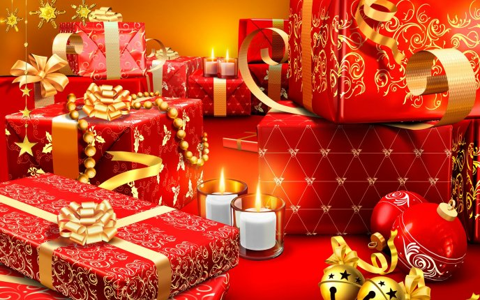 A lot of Christmas gifts wrapped in red paper HD wallpaper