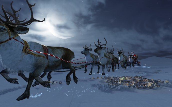 Santa Claus flying over the city at midnight HD wallpaper