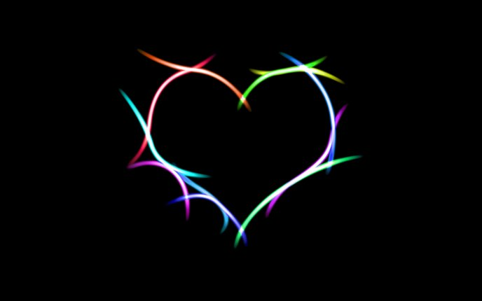 Heart made of colorful lights HD wallpaper