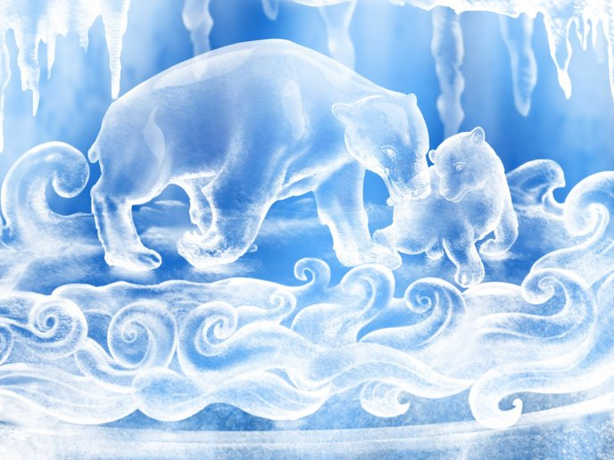 Ice forms - frozen animals HD wallpaper
