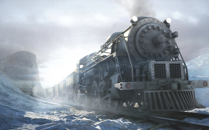 Traveling by train on frozen rails - winter HD wallpaper