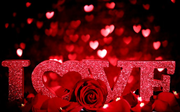 Love messages - wall with hearts and red roses