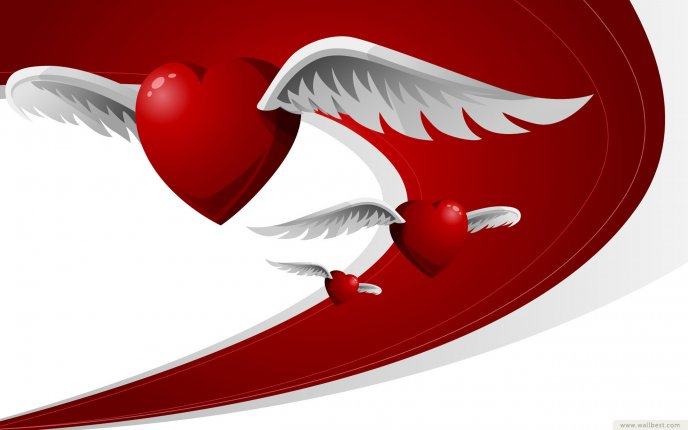 Hearts with wings - love is in the ir