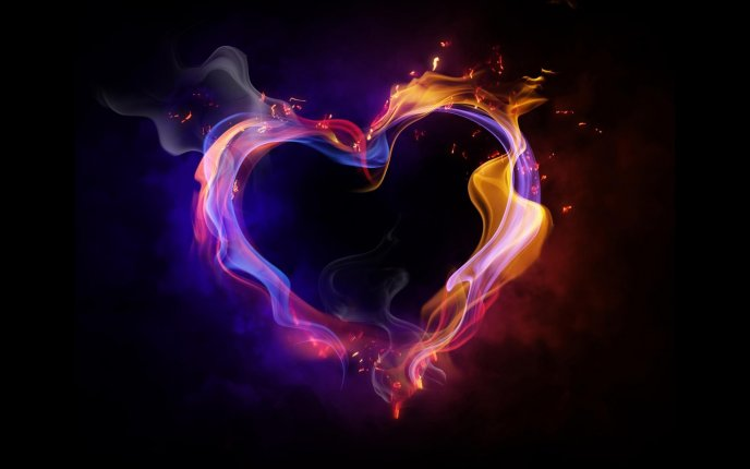 Download Wallpaper Heart In Fire Colors