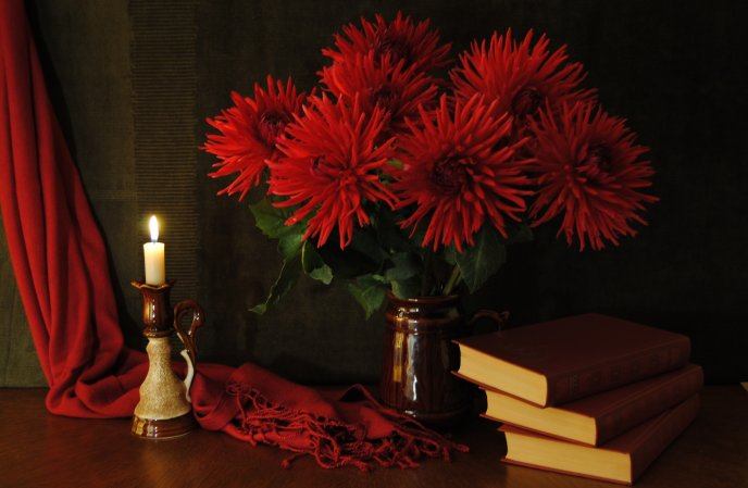 Red Daffodils and books - special night