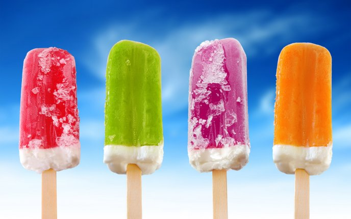 Four delicious ice creams - refreshing