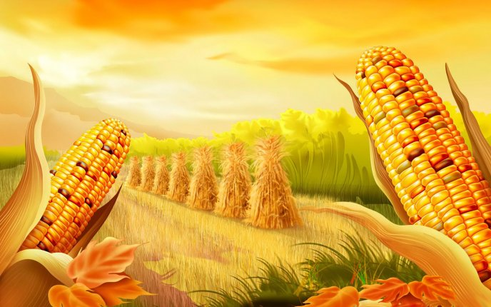 Drawing - Corn harvest HD wallpaper