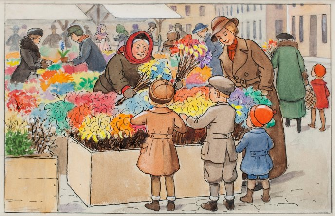 With the kids at the flower market - drawing wallpaper