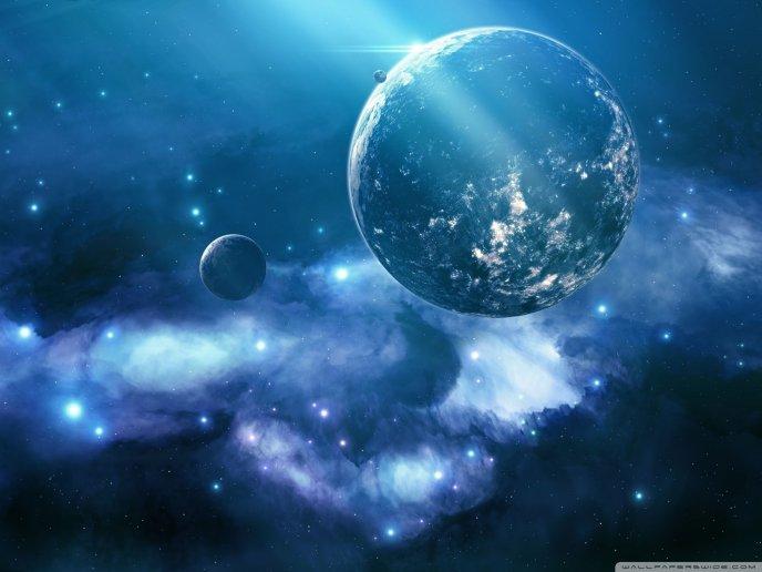 Download Wallpaper Beautiful Blue Galaxy
