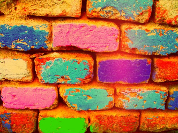 Download Wallpaper Painted Bricks